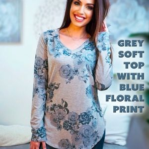 Grey Soft Top with Blue Floral Print
